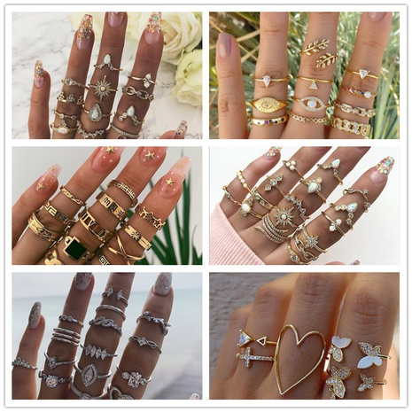 retro diamond-studded turquoise geometric ring set  NHMO356862's discount tags