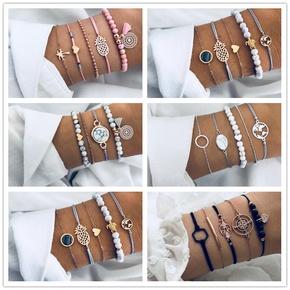 Fashion heart pineapple beaded geometric turquoise multi-set bracelet  NHMO356863