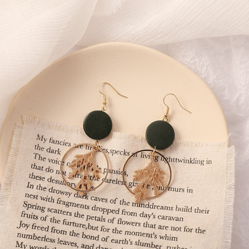 Korean round hollow geometric long earrings wholesale  NHWB356886