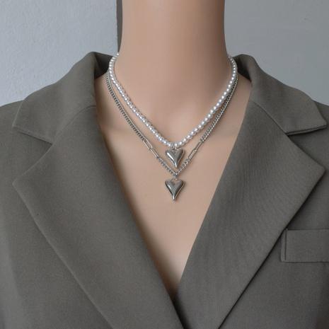 collier de perles à pendentif coeur double couche NHNT356912's discount tags