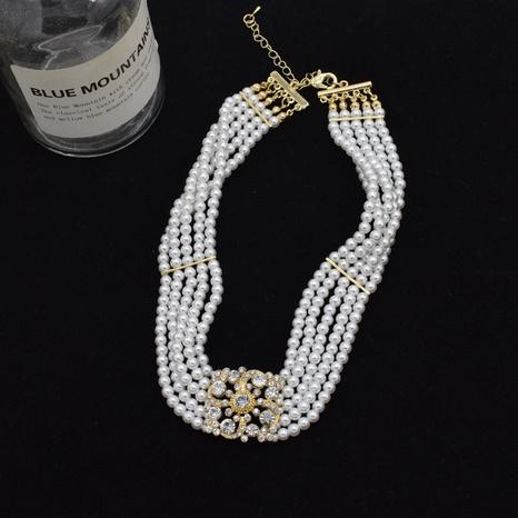 collier multicouche de perles de diamant rétro en gros NHNT356914's discount tags