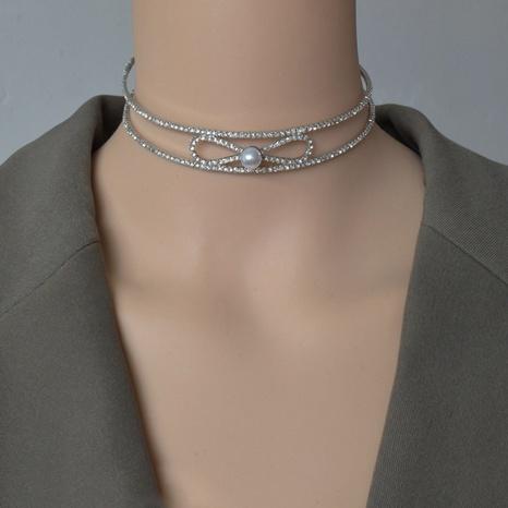 Collier de bowknot de perles de diamant simple NHNT356928's discount tags