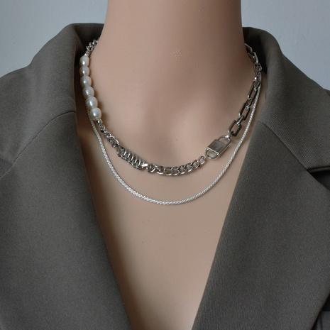 collier épais à coutures de perles multicouches NHNT356959's discount tags