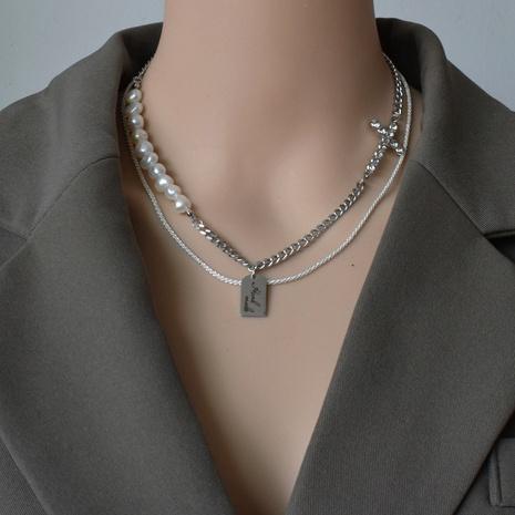 collier à double couche de croix de perles de mode NHNT356960's discount tags