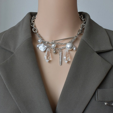 collier de chaîne épaisse à double couche de perles de cristal de mode NHNT356967's discount tags