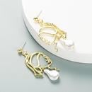 retro hollow metal face shape pearl earrings   NHLN357109