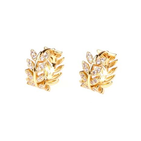Korean style diamond leaf circle ear buckle  NHPY357135's discount tags