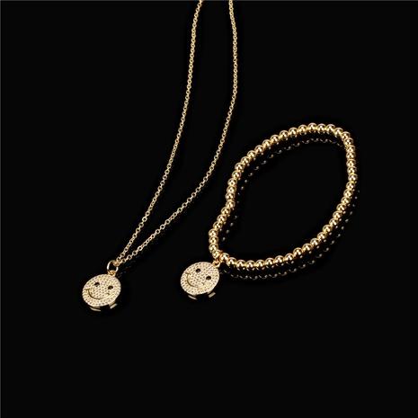 fashion smile face pendant copper bracelet necklace sets NHPY357140's discount tags