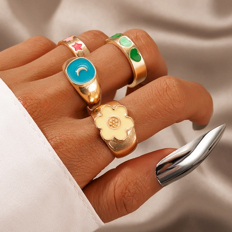Korean color dripping oil flower heart shape ring 4-piece set NHGY357379's discount tags