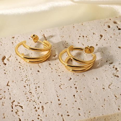 Boucles d'oreilles en acier inoxydable en forme de triple C NHJIE357150's discount tags