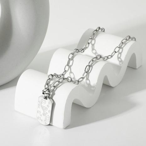Mode Titan Stahl Herz Smiley Gesicht quadratische Marke Anhänger Halskette NHJIE357157's discount tags