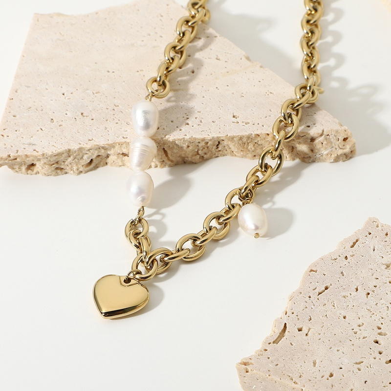 Fashion Heart Pendant Freshwater Pearl Necklace NHJIE357162