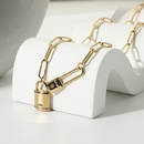 Fashion Gold Paper Clip Lock Pendant Necklace  NHJIE357166