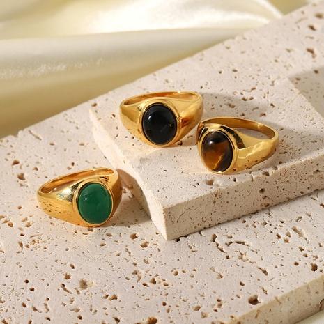 Mode en acier inoxydable en métal ovale anneau de pierre oeil de tigre en gros NHJIE357167's discount tags