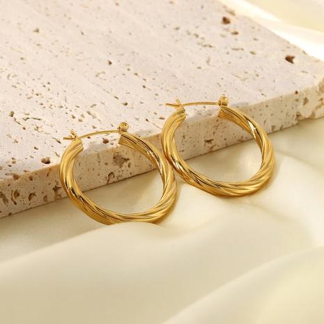 boucles d'oreilles en métal en forme de C torsadées en acier inoxydable plaqué or NHJIE357169's discount tags