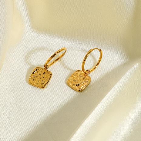 pendentif rectangulaire en relief boucles d'oreilles en acier inoxydable plaqué or NHJIE357179's discount tags