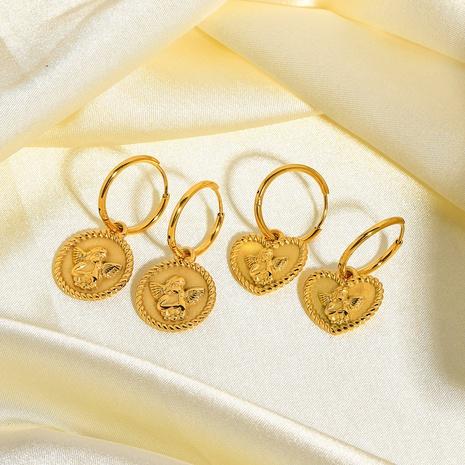 Boucles d'oreilles en acier inoxydable Cupid Angel en acier titane NHJIE357184's discount tags