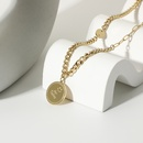 simple stainless steel smiley face round pendant necklace NHJIE357185