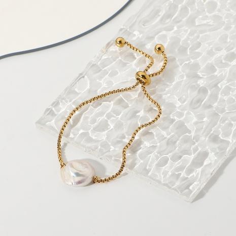 bracelet en acier inoxydable plaqué or réglable étanche perle baroque NHJIE357188's discount tags