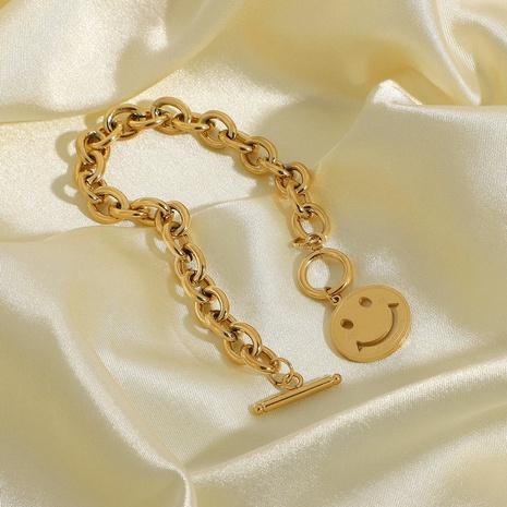 bracelet en acier inoxydable plaqué or avec boucle OT smiley NHJIE357193's discount tags