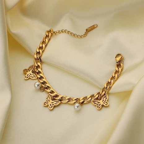Bracelet en acier inoxydable avec perles de papillon et personnalité de la mode cubaine NHJIE357194's discount tags