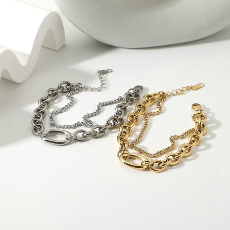 mode grand bracelet ovale double couche en acier inoxydable doré NHJIE357205's discount tags