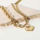 simple heartshaped stainless steel doublelayer necklace  NHJIE357207