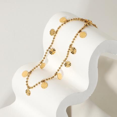 bracelet de cheville simple pendentif disque en acier inoxydable NHJIE357209's discount tags