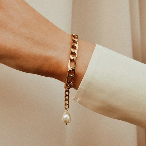 bracelet simple en acier inoxydable avec perles d'eau douce NHJIE357219's discount tags