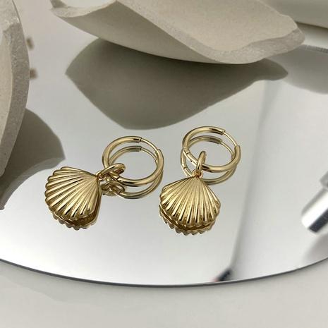 boucles d'oreilles design en forme de coquillage en or de style rétro NHJIE357221's discount tags