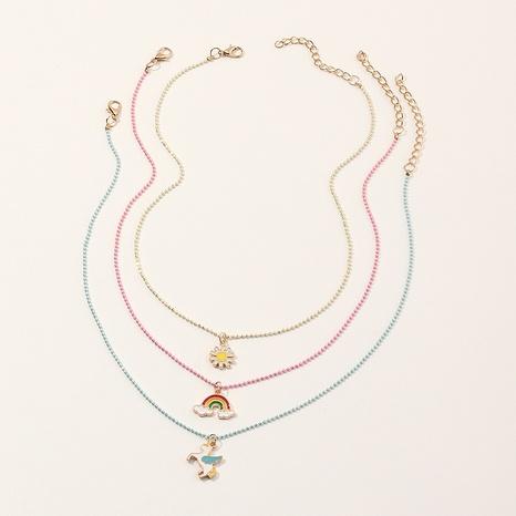 fashion simple children's rainbow geometric pendant necklace set NHNU357440's discount tags
