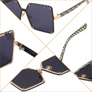 fashion geometric rimless large lens sunglasses NHLMO357615