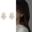 fashion micro inlaid with diamond double square stud earrings  NHXI357666