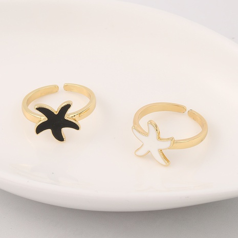 fashion copper starfish dripping oil ring wholesale  NHBU357793's discount tags