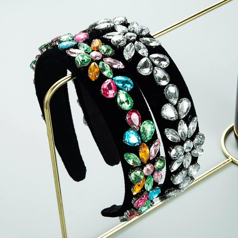 Barock Retro Mode Farbe Strass Flanell Blume Stirnband NHLN357807's discount tags