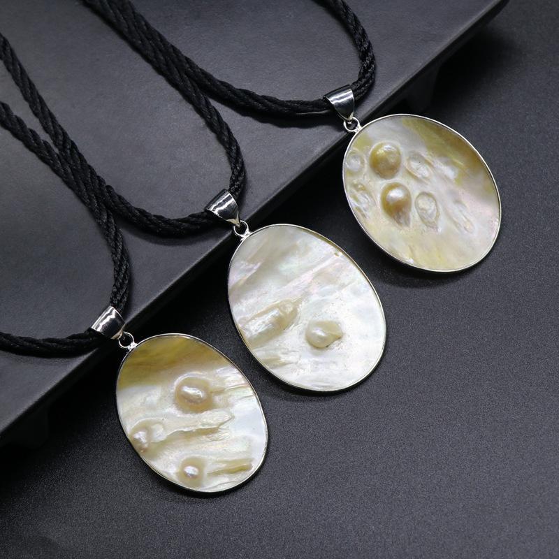 freshwater pearl white motherofpearl edging pendant NHKES357883