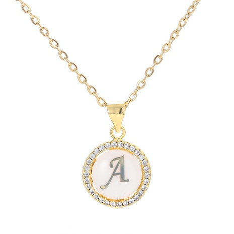 Korean style letter round simple pendant micro-inlaid zirconnecklace   NHWG357241's discount tags
