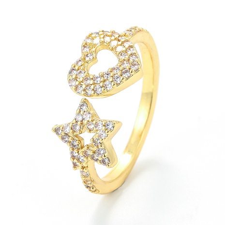 fashion micro-inlaid stars peach heart-shaped opening adjustable ring NHWG357262's discount tags