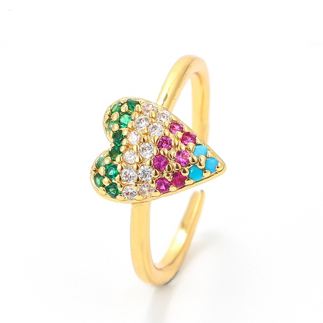 fashion colored diamond peach heart opening adjustable ring NHWG357270's discount tags