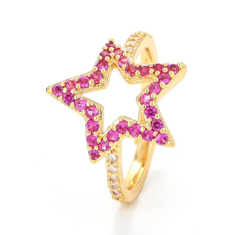 fashion micro-inlaid colored diamonds five-pointed star ring NHWG357274's discount tags