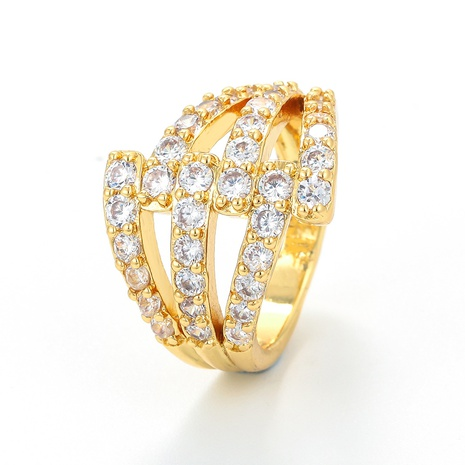 fashion copper gold-plated zircon hollow double layer ring  NHWG357279's discount tags