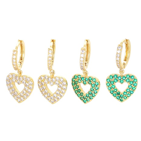 fashion hollow heart copper inlaid colorful zircon earrings NHWG357295's discount tags