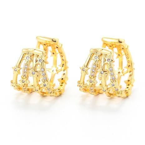 fashion geometric hollow zircon copper ear clip wholesale  NHWG357316's discount tags
