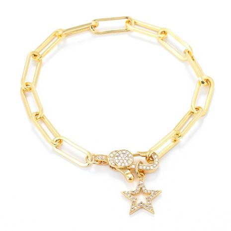 fashion geometric five-pointed star hollow lobster clasp bracelet  NHWG357317's discount tags