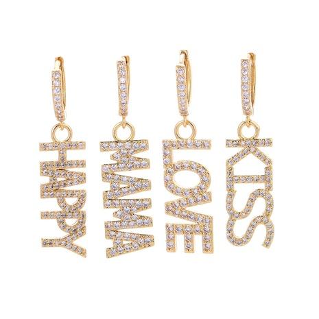 Korean style fashion letter splicing full diamond long earrings NHWG357318's discount tags