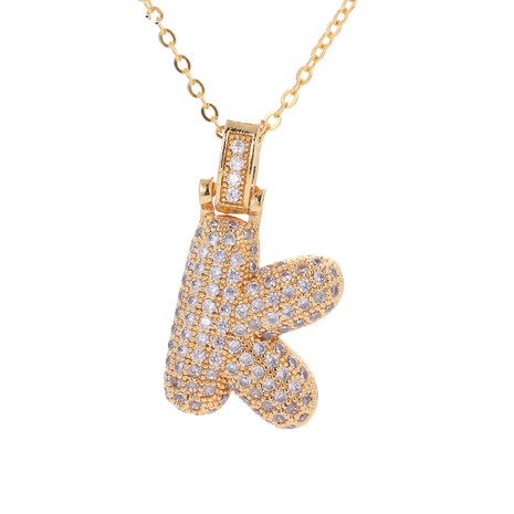 fashion copper plated real gold micro-inlaid zircon letter pendant necklace NHWG357321's discount tags