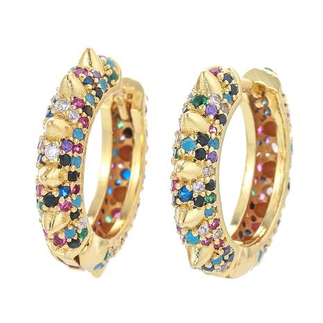 fashion color zircon U-shaped earrings wholesale NHWG357322's discount tags