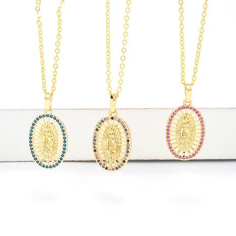 retro Virgin Mary color zircon geometric pendant necklace wholesale  NHWG357323's discount tags