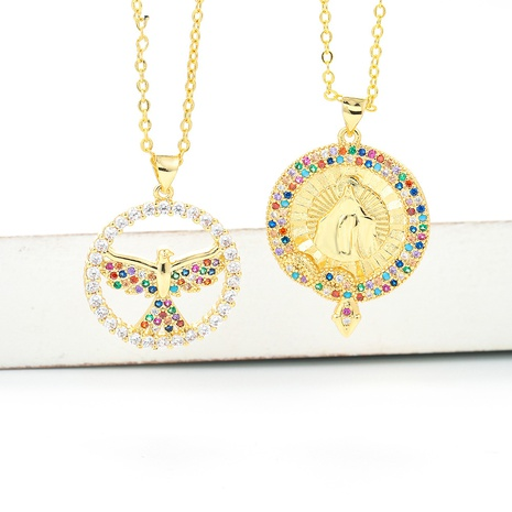 Retro Virgin Mary Pendant Micro-inlaid Colorful Zircon Necklace  NHWG357324's discount tags