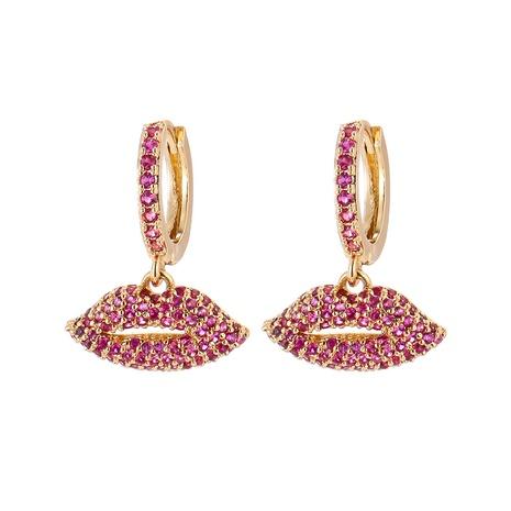 Korean red lip diamond long earrings wholesale  NHWG357326's discount tags
